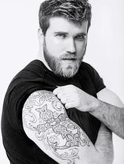 1203 (rrttrrtt555) Tags: hairy muscles shirt tattoo hair beard eyes arms masculine attitude stare shoulders flex