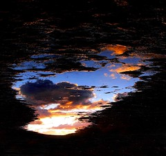 A Puddle,A Portal (~Vision ~A i r y ~) Tags: sunset shadow sky reflection beach window nature water clouds sunrise dark puddle photo graphic natural portal visual effect visionairy 18052016