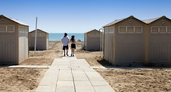Beach Hut Heaven... (Lady Haddon) Tags: venice italy beach couple europe holdinghands beachhuts lido