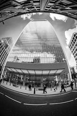 modern architecture (Mitsikp) Tags: city blackandwhite building london monochrome architecture modern composition perspective fisheye