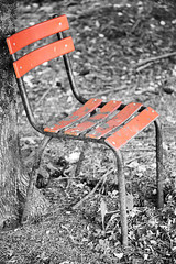 old chair (hedphoto) Tags: old red chair selectivecolor