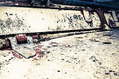 Grunged Rotting Landrover Dengder Bonnet (Peter Greenway) Tags: rotting metal rust decay grunge rusty rusted junkyard scrapyard landrover scrap scrapped landroverdefender grunged breakersyard rustspots