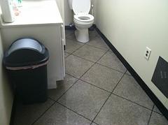 Epoxy Tile Bathroom (Decorative Concrete Kingdom) Tags: tile bathroom gray flake epoxy restroom chip