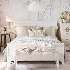 White & Beige Bedroom (Heath & the B.L.T. boys) Tags: wallpaper bench bed bedroom beige pillow blanket dresser tablelamp cloche nightstand pendantlamp