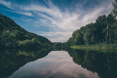 MIGHTY (williampbuckets) Tags: reflection wisconsin clouds forest river mississippi landscape iowa bluffs mighty