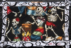 Wallpaper (opal c) Tags: art dayofthedead happy dancing fabric skeletons indexcard fabricart