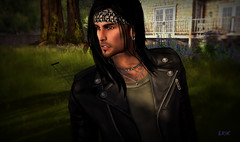Ready To Ride (erikmofanui) Tags: portrait colors leather shadows biker eyecandy sexyman secondlifeavatar secondlifeportrait