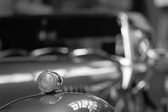 links blinken, rechts abbiegen (chipsmitmayo) Tags: blackandwhite classic cars film analog nikon kodak bokeh f14 trix 85mm f100 voiture 150 400 oldtimer autos nikkor rodinal schwarzweiss dsseldorf ausstellung indicator parken remise blinker selfdeveloped unschrfe adonal kotflgel kleinbild selbstentwickelt