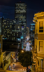kearny street summit vertical panorama (pbo31) Tags: sanfrancisco california city summer panorama motion black color green window june yellow night dark nikon view apartment traffic over large panoramic financialdistrict bayarea telegraphhill stitched roadway kearnystreet sentinal 2016 lightstream boury pbo31 d810