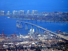 Aerial view of Coronado Bridge -San Diego CA (mbell1975) Tags: ocean california ca city bridge sea water skyline buildings puente island bay san view unitedstates pacific sandiego bur cove south cityscapes diego aerial calif ponte southern most pacificocean cal pont bro brug coronado brcke brig cityskyline kpr skyscappers bouwwerk