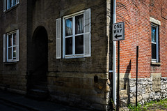 Contrasts in Olde Towne East (brianlrodgers) Tags: windows columbus ohio building brick sign stone architecture alley outdoor oldetowneeast