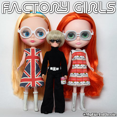 Factory Girls (MyLifeInPlastic.com) Tags: andy fashion soup mod doll dolls factory dress flag fake shift warhol british blythe campbells fakes blythedoll blitzes