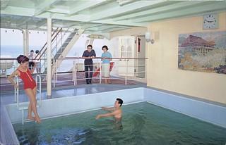 Outdoor Swimming Pool -- Promenade Deck, Japanese Cruise Ship Postcard