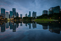 tomorrow is the day (Syauqi Qahar) Tags: city morning blue sky cloud lake reflection building water architecture landscape nikon cityscape calm symmetry malaysia bluehour kualalumpur kl klcc d7000