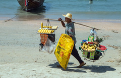 IMG_1034 Street Vendor (suebmtl) Tags: vendor thailand railaybeach krabi selling fruits hawker carrying man thai