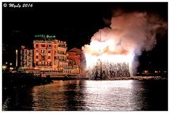 Incendio al castello (Maurizio Longinotti) Tags: incendioalcastello castellodirapallo spettacolopirotecnico fireworks rapallo festediluglio night notte golfodeltigullio italia italy mare sea