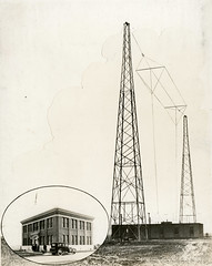 KGO transmitter towers and (inset) studio building (ConejoThruTheLens) Tags: oakland antennas transmitters radiostations kgoradio conejothroughthelens pacificpioneerbroadcasterscollection