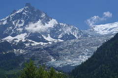 aiguille du midi visible from the valley floor, surrounded by glaciers (eikzilla) Tags: france alps glacier chamonix montblanc