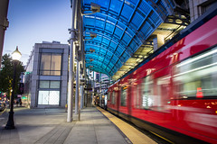 Stand Clear of the Yellow Line (Photos By Clark) Tags: california blue red yellow train movement unitedstates sandiego metro dusk trolley cities places location where northamerica mts lightroom locale canon1740 canon60d
