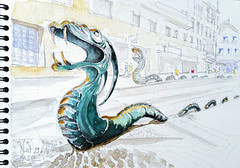 Niort, rue du Temple (Croctoo) Tags: croctoo croctoofr croquis aquarelle watercolor dragon niort poitou statue