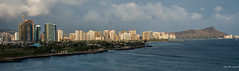 2016 - ms Noordam - Honolulu - Sunset (Ted's photos - For me and You) Tags: ocean water clouds palms hawaii nikon towers wideangle pacificocean highrise diamondhead cropped honolulu constructioncranes vignetting 2016 parkscene tedmcgrath tedsphotos nikonfx nikond750