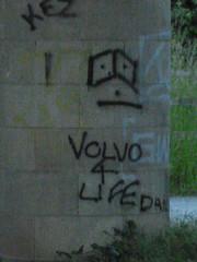 Volvo 4 wot? (rubber rat productions) Tags: graffiti volvo stupid vandalism daft