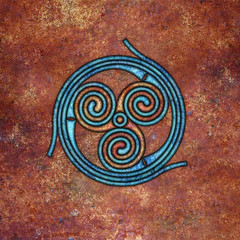 spirals (chrisinplymouth) Tags: spirality art pattern design spiral image whorl coil abstract cw69x artwork square symmetry curl digitalart triskele trumpet cw69sym symbol triskelion triplespiral celticspiral celtic rust trisquel geometric geometry cw69spiral