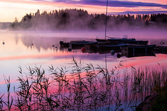 Summer morning (BirgittaSjostedt-away on vacation, back Augusty 1.) Tags: morning pink sky lake reflection water landscape boat sweden serene daybreak bidge hazefog birgittasjostedt