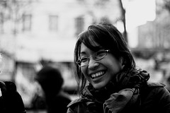 Good times (Laura Coquin) Tags: street portrait blackandwhite woman paris france emotion emo laughting rire