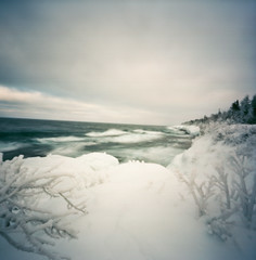lake superior, deep winter, keweenaw peninsula (ais_t) Tags: winter lake storm film ice up square harbor frozen wooden exposure surf 2000 waves image michigan deep wave superior pinhole upper frame copper peninsula frigid zero yooper keweenaw yoop