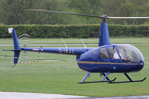 G-IAJJ - 2007 build Robinson R44 Raven II, arriving back at its