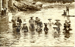 Abbazia (elinor04) Tags: sea portrait people men beach fashion kids vintage photo women rocks group hats style resort bathing swimsuits bathingsuits 1900s abbazia austriahungary rppc