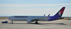 Hawaiian in Sacramento (sfPhotocraft) Tags: plane aircraft jet hawaiian sacramento tug 767 smf boeing767 hawaiianairlines 2013 n592ha