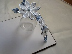 Baby Blue & White Kanzashi Flowers Hair Barrette, Clip, Comb or Pin (Lihini Creations) Tags: flower hair pin weddings etsy bridal comb barrette creations kanzashi lihini