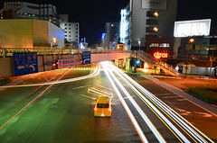 lights II (Dan.212) Tags: longexposure bridge blue green japan night river landscape temple lights shrine cityscape bokeh shikoku  lighttrails naruto tokushima antenna    nikond7000