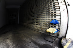 Take a Seat (C_MC_FL) Tags: vienna wien street blue light shadow urban broken canon photography eos austria licht sterreich chair fotografie empty leer sigma wideangle nobody fav20 fisheye foam shutters blau schatten sessel kaputt schaumstoff 10mm weitwinkel rollladen stdtisch fav10 fischauge niemand strase 60d