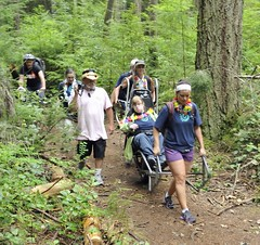 Nearing the end... still smiling (PowellRiverMobilityOpportunitiesSociety) Tags: family friends nature sunshine river coast back teams walks country trails together powell society mobility opportunities disability accessibility friendships trailrider