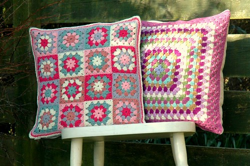 Pair of crochet cushions