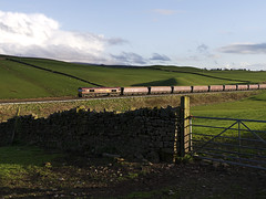 EWS Class 66 (66076) in charge of the Coal train approaching Gilsland 13th May 2013 (penlea1954) Tags: uk train newcastle diesel 66 class coal carlisle ews gilsland 66076