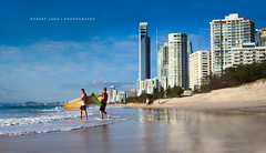 Gold Coast holiday, Australia (Robert Lang Photography) Tags: trip travel holiday color colour men travelling tourism beach boys horizontal reflections fun happy gold coast surf play skyscrapers stock australia surfing adventure coastal surfboard topless qld queensland destination surfers surfboards twopeople accomodation surfersparadise holidaying tallbuildings topspot