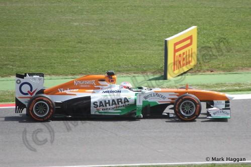 Paul Di Resta qualifying for the 2013 Spanish Grand Prix