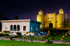 The Badshahi Mosque (Ibrahim.Sayed) Tags: old pakistan gardens architecture night buildings dark ancient nikon fort den mosque symmetry era 1855 nikkor lahore lahorefort subcontinent mughal badshahi 55200 mughals cuckoos cucoos d5100