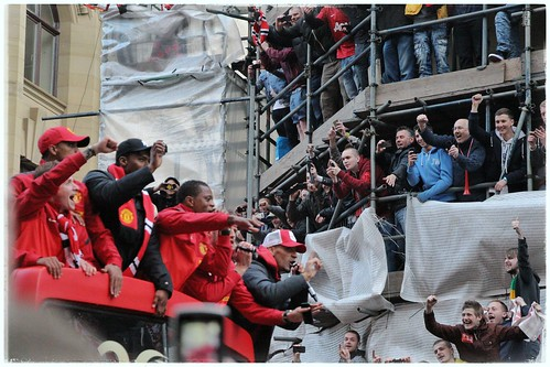 Manchester United on the Victory Parade bus