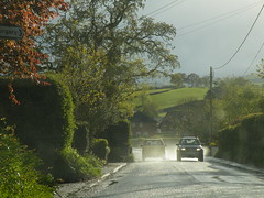 spray (rospix) Tags: uk trees light tree nature car rain weather wales countryside spring may spray countryroad 2013 rospix