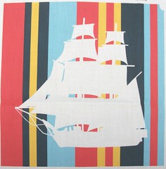 Sailing Across Sunset Sea Stripes (smuk - mooglees) Tags: boys boats for sailing sale ships sails boyz fabric 1700s vessels manowar smuk spoonflower