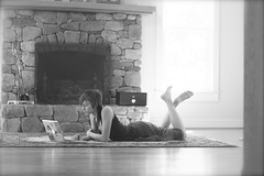 lazy afternoon (peculiarnothings) Tags: wood summer selfportrait window self relax fireplace floor laptop indoors study rug