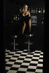 At The Bar! (Steeve Lane (Please Read Profile)) Tags: woman girl female bar pose model posed posing blonde barstools cleavage blondehair jackdaniels victoriaclaire purestormmodel