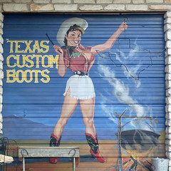 Boots (pianoforte109) Tags: signs art austin boots commercial advertisements busty garagedoors texascustomboots ricohcx3