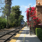 San Juan Capistrano, CA - Amtrac from San Diego to Los Angeles   5-15-2013 -- here the train is going away from me with the engine at the rear of the train thumbnail