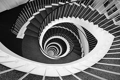 weitblick (Fotoristin - blick.kontakt) Tags: urban blackandwhite abstract lines architecture stairs treppe staircase architektur dsseldorf treppenhaus linien blickkontakt schwarzweis 50erjahre weitblick treppenauge mygearandme mygearandmepremium mygearandmebronze fotoristin